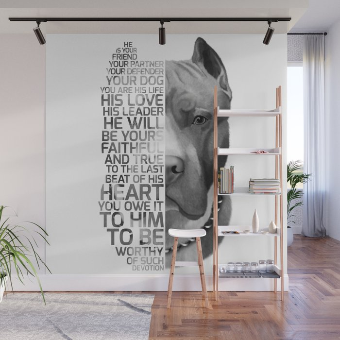 Pit Bull Print, Pit Bull Quote, Pit Bull Gift, Text Dog Portrait, Dog Art,  Dog Quotes Print, Text Do Wall Mural by romandigitalart