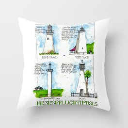 Mississippi Lighthouses Throw Pillow