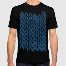 Hand Knitted Navy Mens Fitted Tee Black MEDIUM