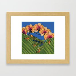 Tree Frog with Orchids Framed Art Print