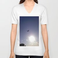 plane V-neck T-shirts featuring Plane by Natasha N. Walker