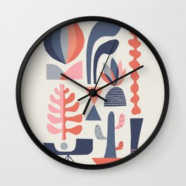 Mid century Succulents Wall Clock