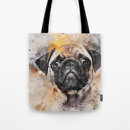 Pug Puppy Using Watercolor On Raw Canvas Tote Bag