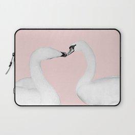 Blush Kiss - Swans in Love - Kissing Swans #1 #decor #art #society6 Laptop Sleeve