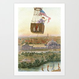 Chicago World's Fair Balloon Ride, 1893 Color Print Art Print