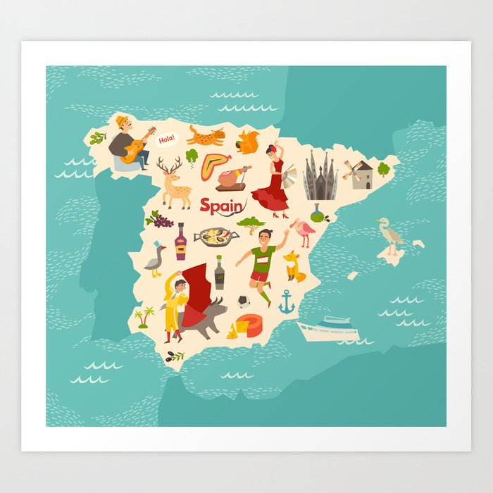 Map Of Spain For Children.Spain Map Vector Illustrated Map Of Spain For Children Art Print