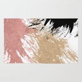 Giant Artsy Brushstrokes in Gold Rose Gold Glitter Rug