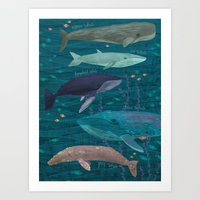 whales Art Prints featuring Whales by Stephanie Fizer Coleman