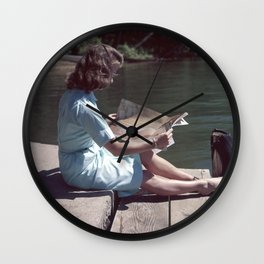 Woman Reading By The Lake (Vintage) Wall Clock