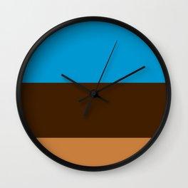 Tri-Color [Blue, Chocolate, Tan] Wall Clock