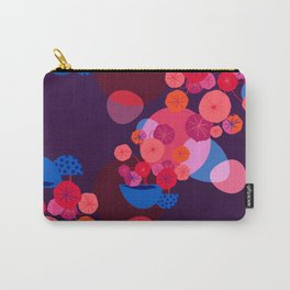Vibrant Pilea Illustration in Pink, Red and Orange Carry-All Pouch