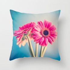 Two pink flowers Throw Pillow