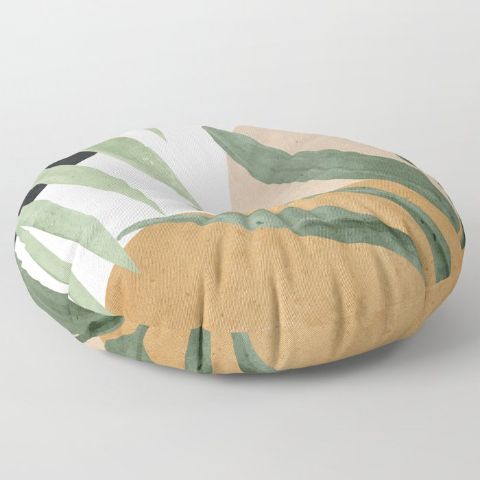 Abstract Art Tropical Leaves 4 Floor Pillow