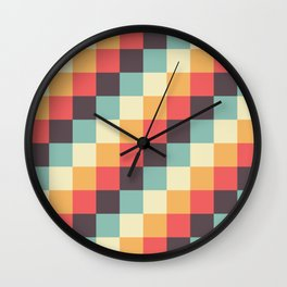 When dad was young - Pixel pattern in muted pastel colors Wall Clock
