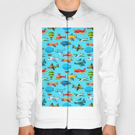 Cute Airplanes Helicopters Airships  Pattern Hoody