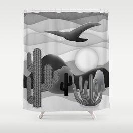 3D Desert Sunset - Black White Gray Shower Curtain