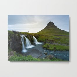 Landscape of the Snæfellsnes peninsula filled with waterfalls and Kirkjufell mountain | Travel photography Iceland Metal Print