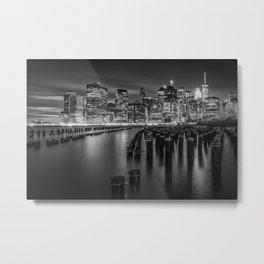 Manhattan Skyline at Sunset | Monochrome Metal Print