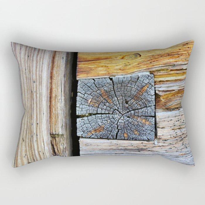 Old log cabin wooden wall Rectangular Pillow