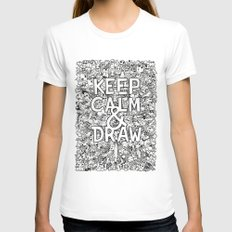 Keep Calm and Draw White Womens Fitted Tee LARGE