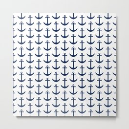Preppy Anchor Pattern - White and Navy Blue Nautical Metal Print