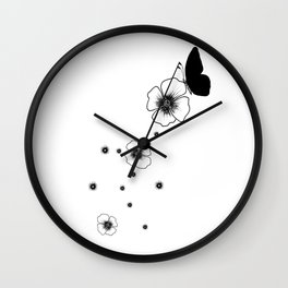 A Little Butterfly with Flowers Ink Art Wall Clock