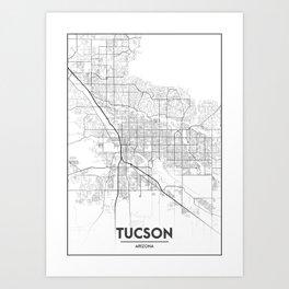 Minimal City Maps - Map Of Tucson, Arizona, United States Art Print