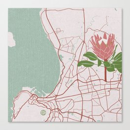 Cape Town Map with King Protea Canvas Print