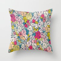 vintage flowers Throw Pillows featuring Vintage flowers by Love2Snap