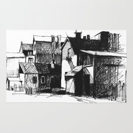 ARCHITECTURE PEN & INK DRAWING Rug