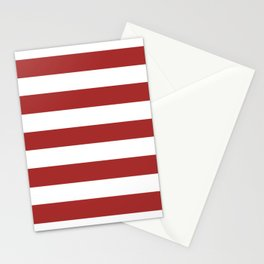 Metallic red - solid color - white stripes pattern Stationery Cards