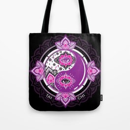 Tai Chi - Yin Yang - Flower Art Tote Bag