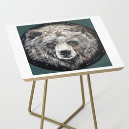 Grizzly bear, green Side Table