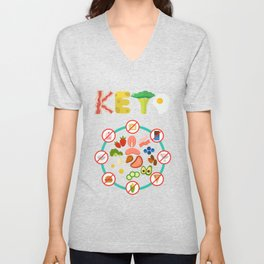 Keto Diet Lifestyle weight loss Nutrition Unisex V-Neck