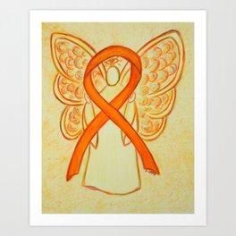 Orange Awareness Ribbon Angel Art Print