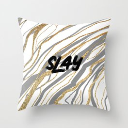 Gray and Gold Slay Marble Throw Pillow