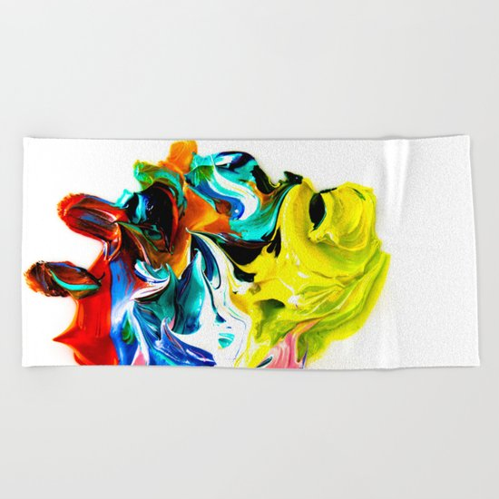 paint on a white background Beach Towel