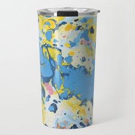 Abstract Blue & Yellow Paint Travel Mug