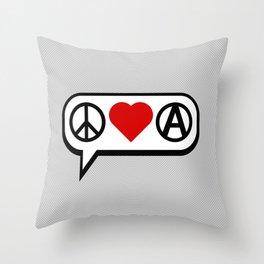 Peace. Love. Anarchy. Throw Pillow