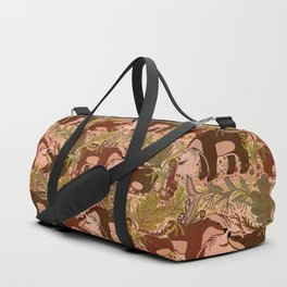 Badgers in Woodland Forest Plants under the Fall Sun, Cute Badger Mom & Baby in Woods Brown Green Duffle Bag