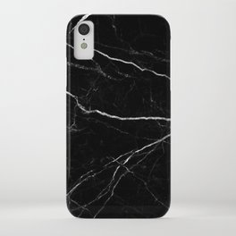 Black marble abstract texture pattern iPhone Case