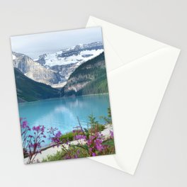 View of the Lake Louise with flowers Stationery Cards