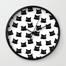 Patient Cat Pattern Wall Clock