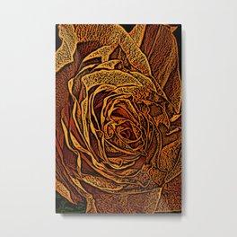 Rose Woodcut Metal Print