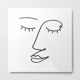 Abstract Black and White Line Drawing Woman's Face Sleeping Metal Print