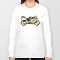 honda Long Sleeve T-shirts featuring Honda CBR1000 & Old Newspapers by Larsson Stevensem