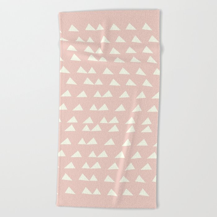 Scattered Triangles in Blush and Cream Beach Towel