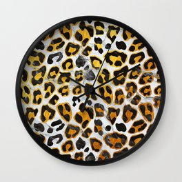 GOLD LEOPARD MARBLE Wall Clock