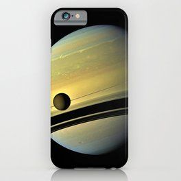 Saturn and its Moon Titan in Orbit Telescopic Photograph iPhone Case