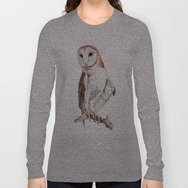 Barn Owl Watercolor Long Sleeve T-shirt